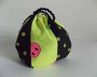 Pochon, purse or small cloth bag decorated with smiley