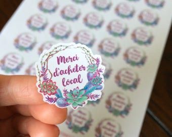 """Sticker """"Merci d'acheter local"""" with a wreath of succulents and cactus"""