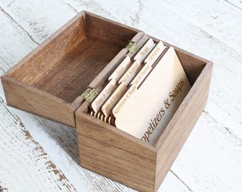 Recipe Box Wood Recipe Box Rustic Recipe Box