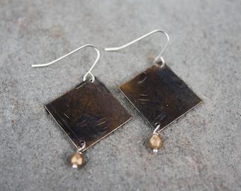 Recycled Bronze Diamond Disc Earring