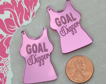 GOAL DIGGER - Pink Mirror T Shirt Charms  - Laser Cut Acrylic