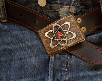 Letter A Einstein Leather Belt Mind Atom Bronze Enamel Buckle Physics Chemistry
