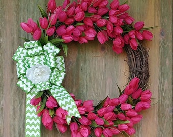 Spring Grapevine Pink Tulip Wreath