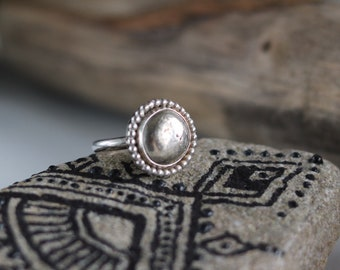 Boho silver ring, handmade silver ring, silver nugget ring, handmade boho ring, silver gypsy ring, gift for women, size 7.25 ring
