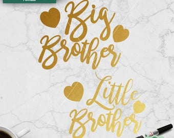 Big Brother SVG, Little Brother SVG, Cut Files, Brothers svg, Cut file for cricut, Silhouette, Family svg, dxf, png, jpeg, Commercial Use