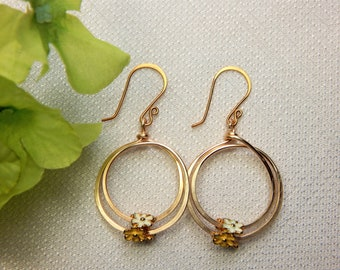 Gold Double Circle Hoop Wire Work Earrings (E70)