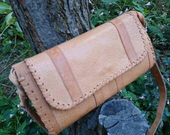 Vintage Leather Shoulder Bag / Genuine Leather Handbag / Leather Bag / Leather Clutch / Natural Leather Shoulder Bag / Beige Women Bag