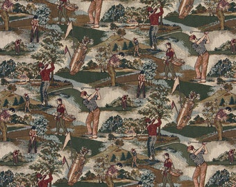Close-up Golfers, Golf Course and Golf bags, Themed Tapestry Upholstery Fabric By The Yard| Pattern #A004