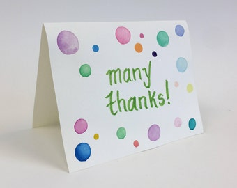 Many Thanks Hand Painted Greeting Card
