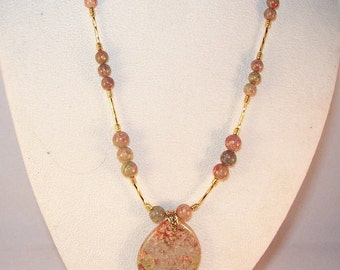 Gemstone Jewelry - Autumn Jasper Pendant Necklace