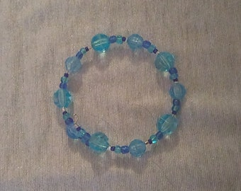 Blue Plastic Beaded Wraparound Bracelet