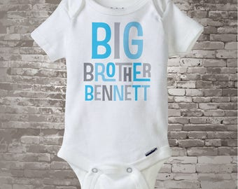 Personalized Big Brother Onesie or Tshirt, Infant, Toddler or Youth sizes with Light Blue and Grey Letters 08302013a