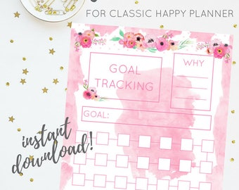 Bujo-Inspired Goal Tracker | Pink Floral Watercolor Printable Insert Series | For Classic Happy Planner |  Planner Insert | Digital Download