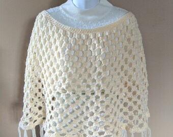 Beautiful Crocheted Poncho in a Cream Color Yarn - size fits Medium to X Large