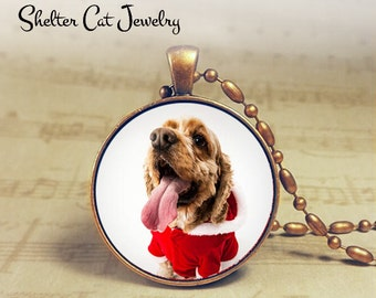 "Christmas Doggie in Santa Suit Necklace - 1-1/4"" Circle Pendant or Key Ring - Holiday Dog - Christmas Present Holiday Gift Animal Lover"