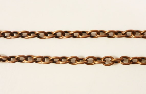 Antique Copper Metal Chain 3x2mm Metal Alloy Small Curb Link Unfinished Iron Chain Jewelry Making Supplies 1 Meter (3ft)