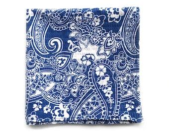 Blue Paisley Print Pocket Square, Handmade Pocket Square, Mens Pocket Square, Patterned Pocket Square, Cotton Pocket Square