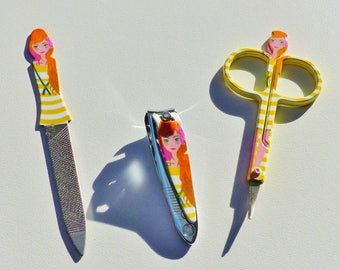 cut file and scissors yellow girl drawing manicure nail manicure kit