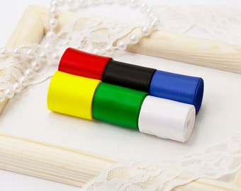 "Essentials Theme Ribbon Set, 6 PCS Double Faced Satin Ribbons, Widths Available: 1 1/2"", 1"", 6/8"", 5/8"", 3/8"", 1/4"", 1/8"""