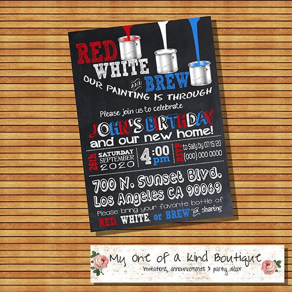 Items similar to Housewarming invitation birthday party red white