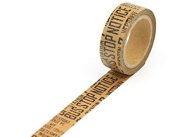 Washi Tape in Kraft Paper - Kraft with Black Text