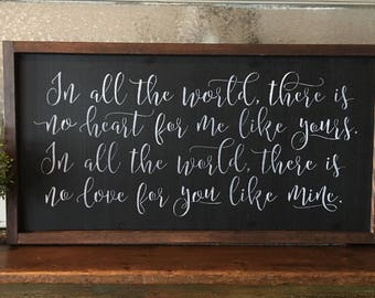 In All The World There Is No Heart For MeLike Yours. Hand Painted and Wood Framed Sign.