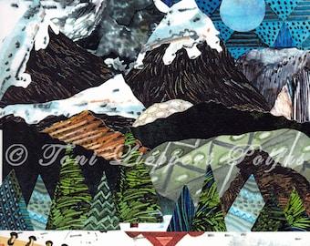 Rocky Mountain Painting, print of original watercolor collage painting, mountain art, Colorado artwork, lodge decor, winter art, folk art