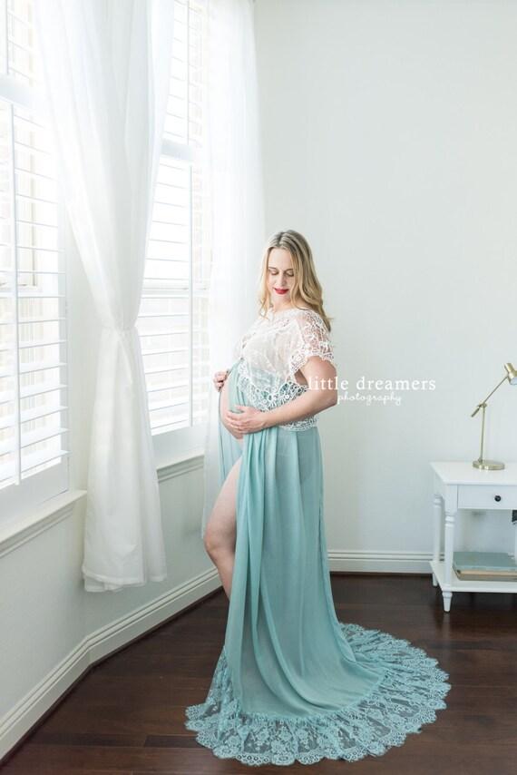MATERNITY CROP TOP maxi skirt set: aqua photo shoot prop