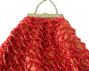 Antique Red Beaded Reticule Handbag