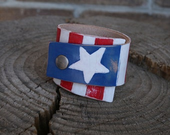 Hand PAINTED AMERICAN FLAG Cuff Bracelet, Leather Bracelet, Patriotic, Army, Military, Police, Firefighters, 4th of July
