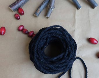 Macrame rope  100 gram black Macrame Cotton cord, DIY Macrame, Cotton Twine, undyed cotton cord, natural cotton, twisted cotton rope