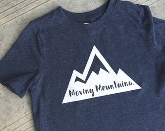 "Moving Mountains - Down Syndrome Awareness Shirts ~ Girls and Boys, Navy T-shirt with White ""Moving Mountains"" Logo"