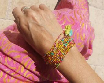 Tropique Long Seed Bead Wrap Bracelet, Necklace