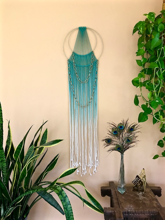 Double Brass Chain Macrame Dream Catcher - Hand Dyed Teal Rope
