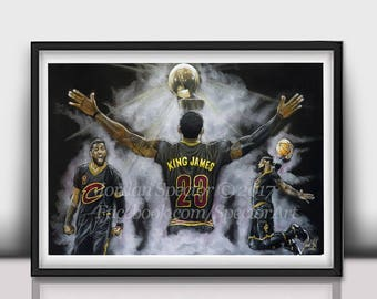 Lebron James - Cleveland Cavaliers - Art Print - 2016 NBA Champions - Cavs Wall Art - Man Cave - Cavaliers - Cavaliers Artwork - Dorm Decor