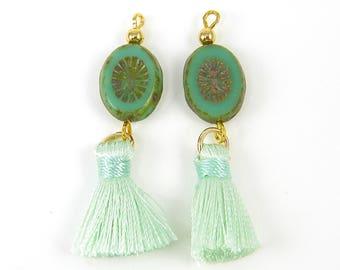 Mint Green Tassels Earring Findings, Mint Green Beaded Tassels Earring Dangles, Mint Green Fringe |GR6-10|2
