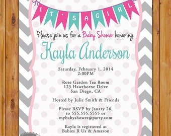 It's a Girl Baby Shower Invitation Grey Chevron Pennant Bunting Invite Pink Teal Baby Shower Printable 5x7 Digital JPG File (147)