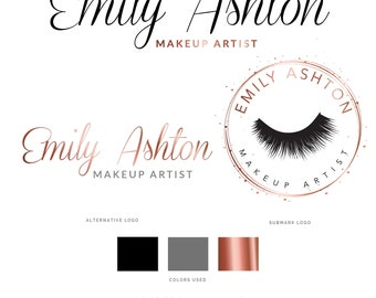 Eyelash Logo, Beauty Logo, Makeup Artist Logo, MUA Logo, Lash Artist Logo, Rose Gold Logo, Logo, Logo Design, Branding Package