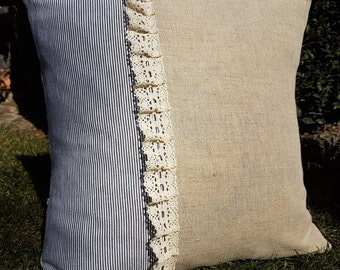 Stripe Burlap Pillow Cover Farmhouse Pillow Cover French Decorative Pillow Cover