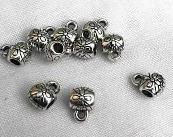 Cylinder 5 bail beads Tibetan silver 9x6mm