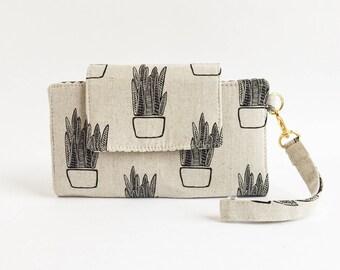 Little Hercules Cell Phone Wallet/Clutch/Phone Case/Vegan Wallet/Fabric Wallet/Cactus