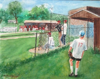 Original Watercolor * Sport Painting * Baseball * Softball * NUMBER 17  * Art by Rodriguez