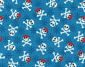 Three (3) Yards - Fabulous Foxes Pirate Skull and Crossbones on Blue Fabric Robert Kaufman AHE-15637-4 Blue