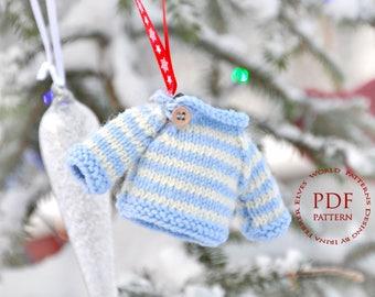 Christmas knitting pattern-Christmas tree ornament-Mini sweater christmas ornament-Quick handmade gift-Doll's knit sweater
