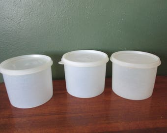 Tupperware Canisters Set of 3  Round 1970s White