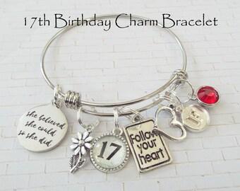 Birthday Gift for Teenage Girl, 17th Birthday Gift Girl, Happy Birthday Charm Bracelet, Custom Charm Bracelet, Personalized Gift for Her