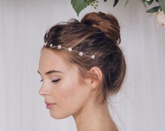 Wedding headband, flower headband, daisy headband, wedding hairvine, flower hairvine, daisy hair vine, rose gold, silver or gold - Daisy