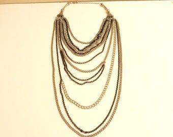 90s Era Vintage Multi Chain Necklace measuring 44 inch