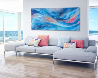 OVERSIZE Abstract Art: cobalt, coral pink, navy blue, aquamarine & turquoise canvas giclee print painting by Hawaii fine artist Donia Lilly