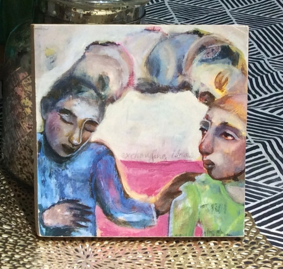 Exchanging Thoughts. Print Mounted on wood.